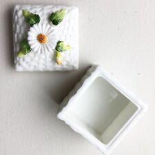 Vintage Schmid Bone China White Embossed Basket Weave Flower Trinket Box