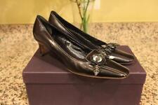 PRADA  Anem Sport Black Leather Floral Buckle Loafer Heels Size 39/9  (SH1000