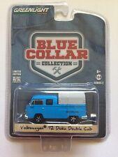 Greenlight Blue Collar Volkswagen T2 Doka Double Cab VW Blue Diecast 1/64 Scale