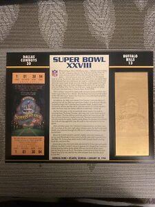 22KT GOLD SUPER BOWL 28 XXVIII COWBOYS VS BILLS OFFICIALLY AUTHORIZED NFL TICKET