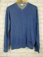 Armani Collezioni Men's jumper top Blue Long sleeves V-neck Sz L, 54 silk mix
