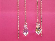 9ct Gold Swarovski Elements Crystal Pull Through Threader Earrings