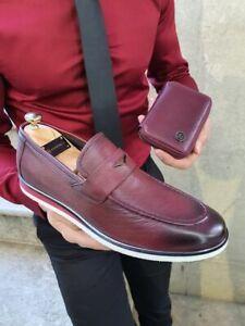 Handmade Men's Genuine Burgundy Leather Loafer Moccasin Slip on Shoes