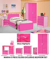 Pink Gloss Girls 5 Piece Modern Bedroom Set Furniture Units - Double Wardrobe