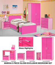 Pink Gloss Girls 5 Piece Modern Bedroom Set Furniture Units - Double Wardrobe