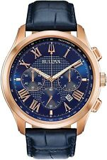 Bulova Men's Wilton Navy Blue Stainless Steel Chronograph Watch 97B170