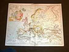 Antica carta geografica o mappa fine '800 Ancient map Europa politica - Europe