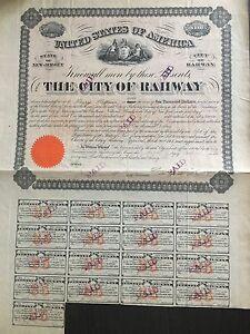 US $1000 Bond w/ $30 Coupons City of RAHWAY NJ 1865 Bill to CHATHAM BANK NY. XF