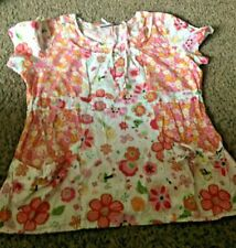 Ladies Los Angeles Rose Scrub Top Short Sleeve Pull Over Size S Small