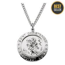 "Christopher Medal 24"" Necklace Sterling Silver 25mm St."