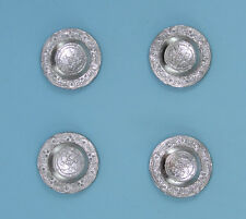 1/12 Scale: Pack of 4 Dollhouse Miniature Fancy Silver Embossed Plates #Z60014S