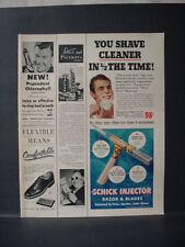 1952 Schick Injector Razor + Blades Shaving Vintage Print Ad 11570