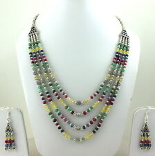 NECKLACE EARRINGS NATURAL RUBY EMERALD SAPPHIRE MULTI GEMSTONE BEADED 72 GRAMS