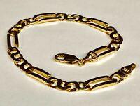 "14k Solid Yellow Gold Handmade Figaro INFINITY Link Bracelet 7"" 10 Grams 6 MM"