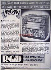 1937 R.G.D Model 1220 Wireless Radio Gramophone AD - Small Art Deco Print ADVERT