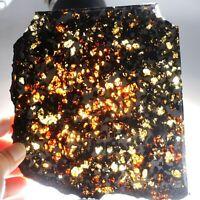 192g Meteorites slice,Rare slices of Kenyan Pallasite olive meteorite F1755