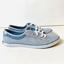 Keds Women's Size 7 Canvas Blue Pinstripe Lace Up Sneakers Low Top, Casual Shoes