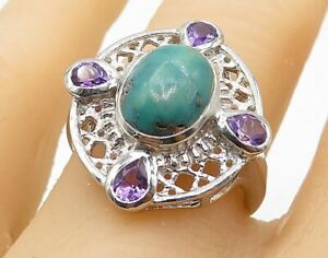 925 Silver - Turquoise & Amethyst Filigree Shield Cocktail Ring Sz 7 - R7782