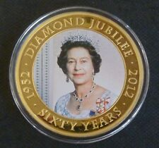 2012 Diamond Jubilee 65mm Large 24 Carat Gold-Plated 5 Dollars Cook Islands