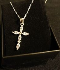 Religious Beauty Sterling Silver CZ Stone Cross Necklace by Avon NEW in Gift box