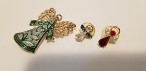 Angel Pin Trio Large Green Enamel Small Red Blue Clear Crystal