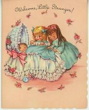 VINTAGE NEW BABY INFANT BASSINET CRADLE RATTLE GIRLS SISTERS CUTE CARD ART PRINT