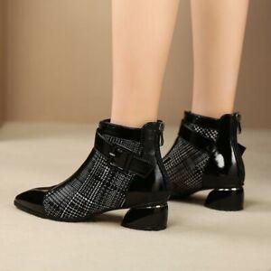 Shiny Luxury Vamp Pointed Toe Ankle Luxury Womens Booties Fashion Stylish Zipper