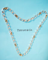 Tiffany & Co 18ct 18K Yellow Gold Sterling Silver Chain Link Necklace 16 Inch