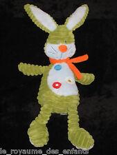 Doudou Gd Lapin vert bleu écharpe orange Tex Baby Carrefour velours côtelé 44 cm