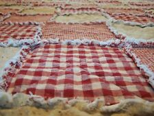 California King Size Red Rag Quilt Homespun Primitive Bedding, Handmade in NJ