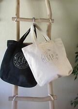 A LOT OF GAP XL IVORY & DENIM CANVAS SIGNATURE STAMPED TOTE BAGS