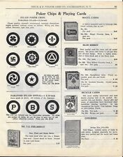 1929 PAPER AD Poker Chips and Playing Cards Swastika Clover Leaf Pilot Wheel