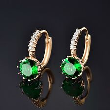 Luxury Green Emerald Wedding Jewelry Gold Filled Fashion Womens Hoop Earrings
