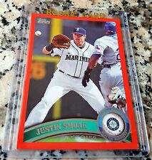 JUSTIN SMOAK 2011 Topps RED SP Rookie Card RC 196/245 HOT Blue Jays 20 Home Runs