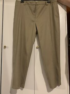 M&S Ladies Trousers Neutral Relaxed Straight Leg Freya Size 20 SHORT