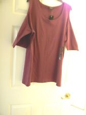 Torrid ,Plum Cold Shoulder, Foxy Tee, Plus Size 5(28), Cut Outs,Scoop Neck NWT