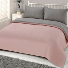 Brentfords Reversible Blush Grey Duvet Cover with Pillowcase Pink Bedding Set