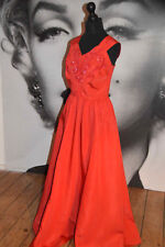 Vintage red evening dress ball gown party evening sequin 50's full skirt taffeta