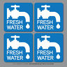 4 x Fresh Water Stickers Caravan Motorhome Campsite Sink - 60mm x 60mm - SKU2656