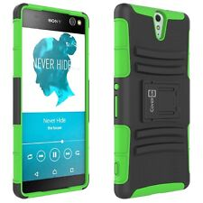 For Sony Xperia C5 Ultra Belt Clip Case Neon Green / Black Holster Hybrid Cover
