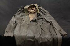 Wwii German Brown Leather & Wool Uniform Trench Coat Jacket Rb-Nr On353 Hanover