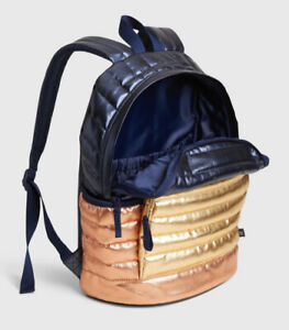 Gap Kids Quilted Backpack, Pink/Gold/Navy Blue, New, Sturdy Weave, Side Pockets