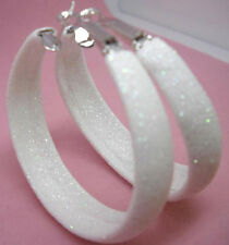 "E1033F Dull Polish Glitter White Hoop Earrings Diameter 1.77"" Fashion Girl/Lady"
