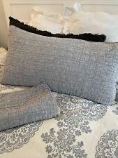 Crate & Barrel Set 2 Belgian Flax Linen King Pillow Shams Grey EUC
