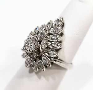 Vintage 14K White Gold Pear-Shaped Cluster Ring with 3/4CTW Diamonds 26730-1