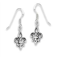 Classic Fleur-de-Lis Hook Earrings New Orleans Dangle Saints 925 Sterling Silver