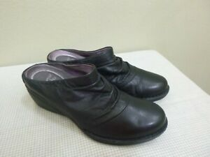 DANSKO 8.5 9 39 Black Leather Scrunch Wedge Heels Slip On Clogs Mules Slides
