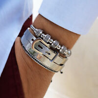 Men Charms Macrame Stack Bracelets Roman Numeral Stainless Steel Cuff Bangle