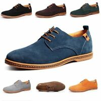 New Men's Suede Leather Shoes Casual Business Loafers Lace Up Comfy Sheos Lot