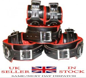 Bondage Restraints Top Grain RED Black Leather Full Set of 7